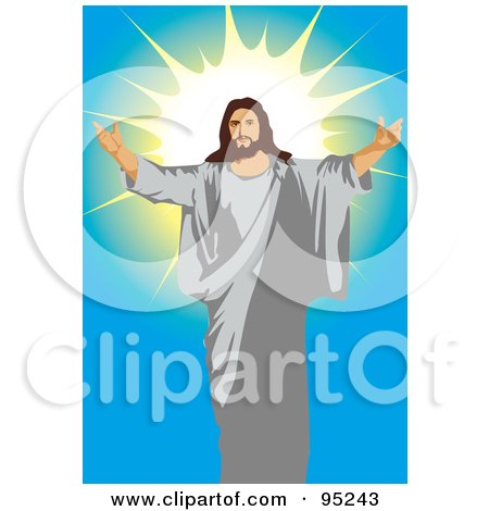 Royalty-Free (RF) Clipart Illustration of Jesus Holding His Arms Open - 1 by mayawizard101