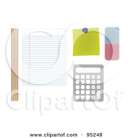Royalty-Free (RF) Clipart Illustration of a Digital Collage Of A Ruler, Sheet Of Ruled Paper, Note, Eraser And Calculator On A Student's Desk by JR