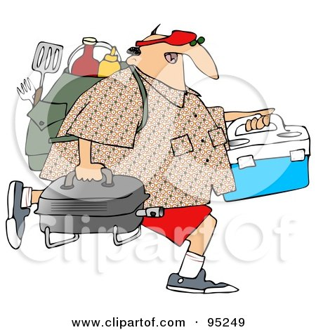Royalty-Free (RF) Clipart Illustration of a Middle Aged Caucasian Man Carrying A Portable BBQ And Picnic Gear by djart