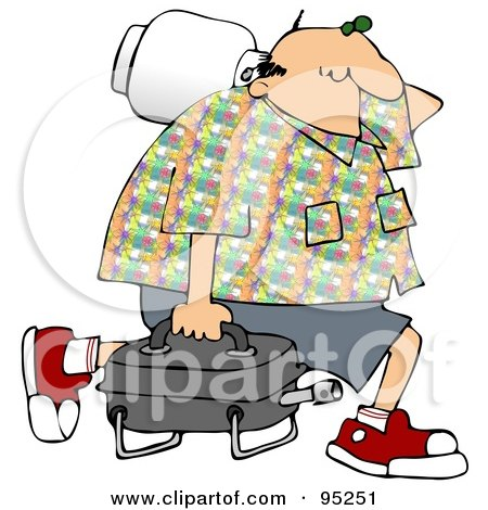 Royalty-Free (RF) Clipart Illustration of a Middle Aged Caucasian Man Carrying A Portable Gas BBQ by djart