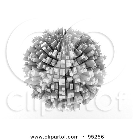 Royalty-Free (RF) Clipart Illustration of a 3d Rendered Overpopulated Planet Covered In Skyscrapers by MacX