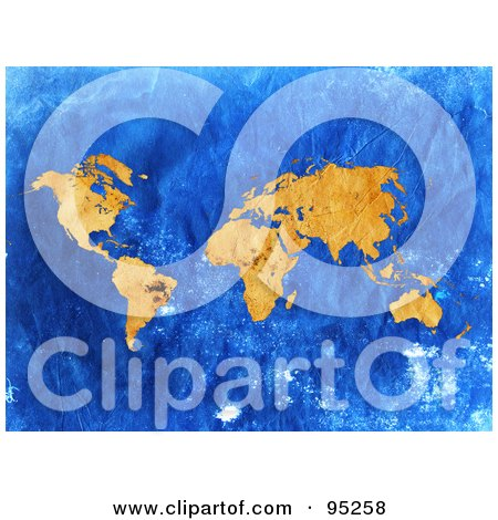 Royalty-Free (RF) Clipart Illustration of a Grungy Vintage Map Of Orange Continents Over Blue by MacX