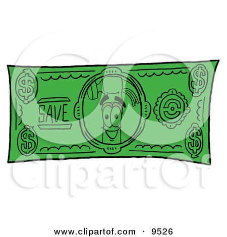 Clipart Picture of a Hammer Mascot Cartoon Character on a Dollar Bill by Toons4Biz