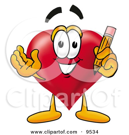 Clipart Picture of a Love Heart Mascot Cartoon Character Holding a Pencil by Toons4Biz