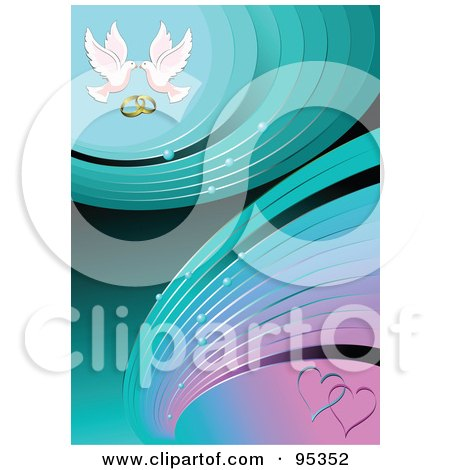 Turquoise And Pink Engagement Background With Hearts Doves And Wedding