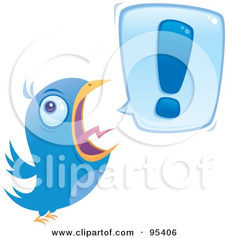 Royalty-Free (RF) Clipart Illustration of a Blue Bird Screeching An Exclamation Point by John Schwegel