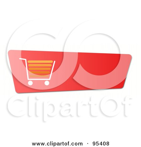 Royalty-Free (RF) Clipart Illustration of a Slanted Red Shopping Cart Or Checkout Button With Shading by oboy