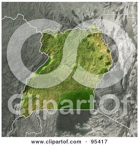 Royalty-Free (RF) Clipart Illustration of a Shaded Relief Map Of Uganda by Michael Schmeling