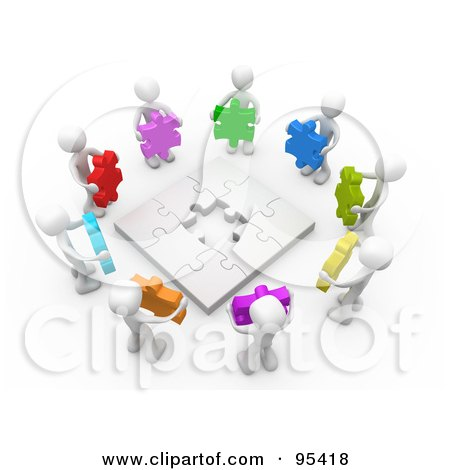 Royalty-Free (RF) Clipart Illustration of a Circle Of 3d White People Holding Different Colored Puzzle Pieces Around A Nearly Complete Puzzle by 3poD