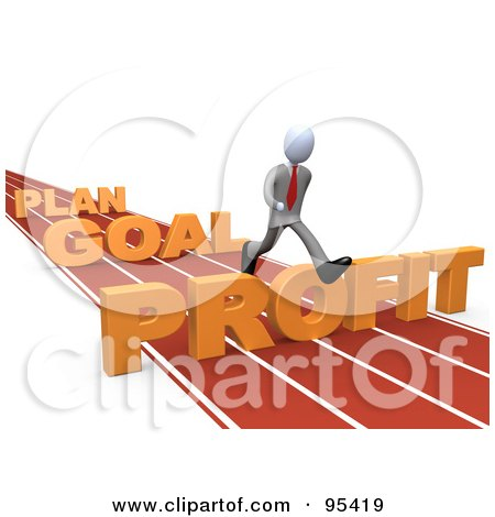 Royalty-Free (RF) Clipart Illustration of a 3d White Person Leaping Over Plan, Goal And Profit Obstacles On A Track by 3poD