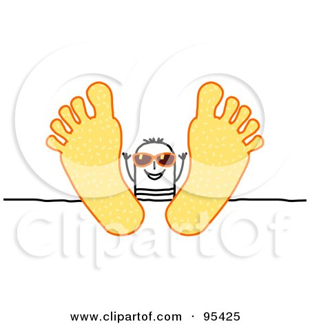 Royalty-Free (RF) Clipart Illustration of a Stick People Man Wearing Shades And Relaxing With His Feet Up On A Table by NL shop