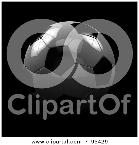 Royalty-Free (RF) Clipart Illustration of a 3d Super Shiny Soccer Ball In Shadows by stockillustrations
