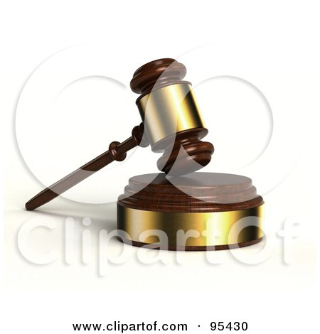 Royalty-Free (RF) Clipart Illustration of a 3d Wooden And Gold Gavel Resting On A Sound Block by stockillustrations