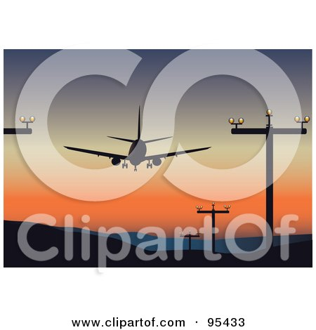 Royalty-Free (RF) Clipart Illustration of a Plane Taking Off Or Landing At An Airport, Silhouetted Against The Sunset by Eugene