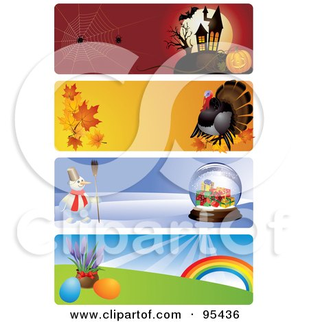 Halloween Thanksgiving Christmas Clipart.Royalty Free Rf Clipart Illustration Of A Digital Collage