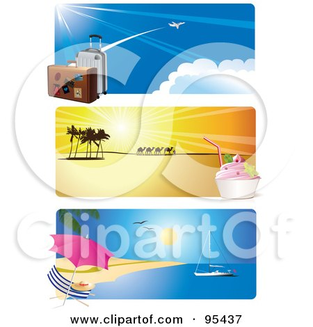 Royalty-Free (RF) Clipart Illustration of a Digital Collage Of Airport, Desert Ice Cream, And Tropical Beach Travel Website Header Banners by Eugene