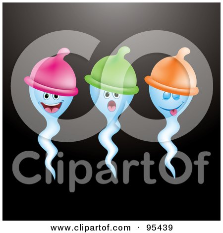 Royalty-Free (RF) Clipart Illustration of Three Blue Sperms Wearing Condom Hats by Eugene