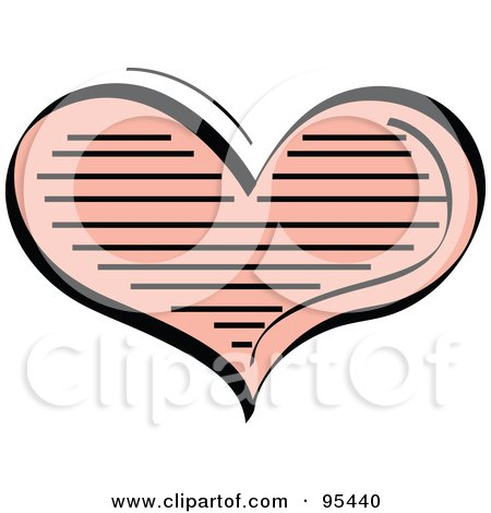 Royalty-Free (RF) Clipart Illustration of a Lined Pink Heart Design by Andy Nortnik