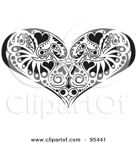 Royalty-Free (RF) Clipart Illustration of a Black And White Victorian Heart Design by Andy Nortnik