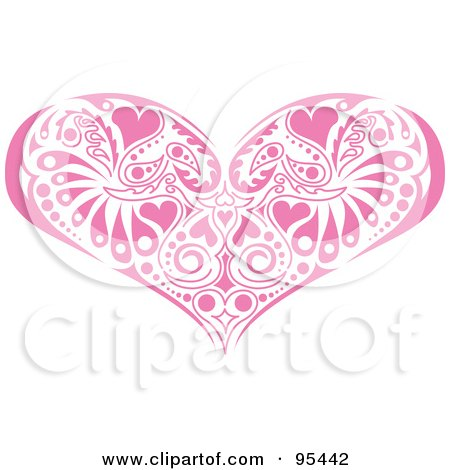 Royalty-Free (RF) Clipart Illustration of a Pink Victorian Heart Design by Andy Nortnik