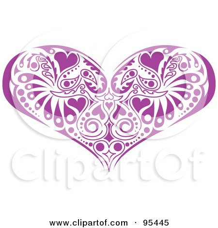 Royalty-Free (RF) Clipart Illustration of a Purple Victorian Heart Design by Andy Nortnik