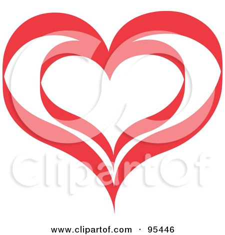 Royalty-free clipart picture of a red heart outline design - 5,