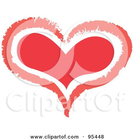 Royalty-Free (RF) Clipart Illustration of a Red Heart Outline Design - 3 by Andy Nortnik