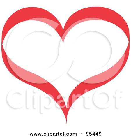 Royalty-Free (RF) Clipart Illustration of a Red Heart Outline Design - 1 by Andy Nortnik