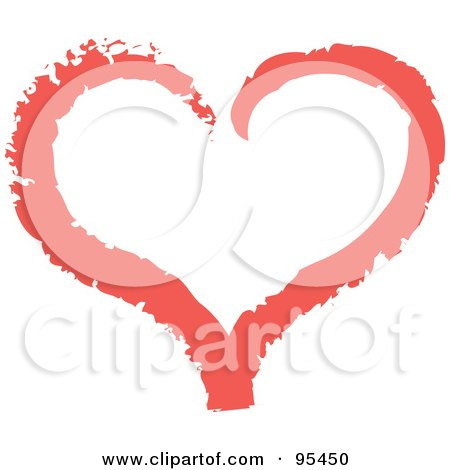 Royalty-Free (RF) Clipart Illustration of a Red Heart Outline Design - 2 by Andy Nortnik