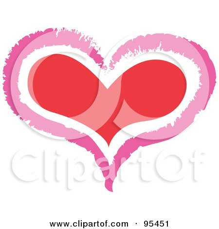 Royalty-Free (RF) Clipart Illustration of a Pink Outline Around A Red Heart by Andy Nortnik