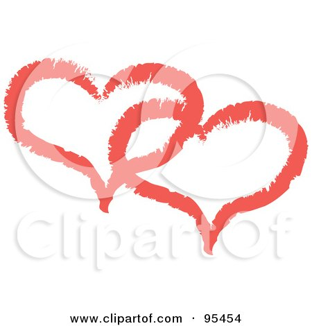 Royalty-Free (RF) Clipart Illustration of a Red Heart Outline Design - 8 by Andy Nortnik