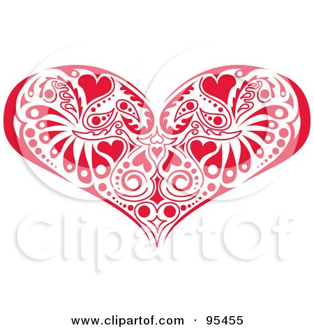 Royalty-Free (RF) Clipart Illustration of a Red Victorian Heart Design by Andy Nortnik