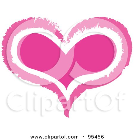Royalty-Free (RF) Clipart Illustration of a Pink Heart Outline Design - 1 by Andy Nortnik