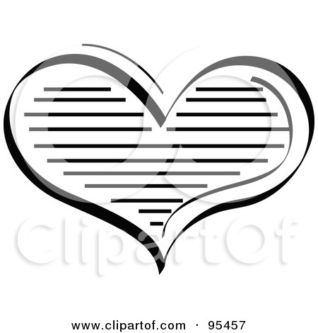 Royalty-Free (RF) Clipart Illustration of a Lined Black Heart Design by Andy Nortnik