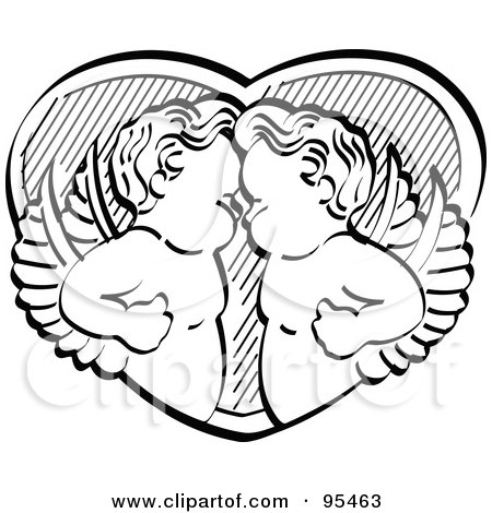 Royalty-Free (RF) Clipart Illustration of Two Black And White Victorian Cherubs Standing Face To Face Over A Heart by Andy Nortnik