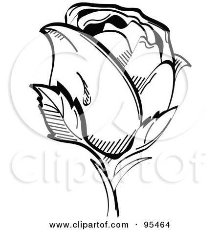 Royalty-Free (RF) Clipart Illustration of a Dew Drop On The Side Of A Single Black And White Rose by Andy Nortnik