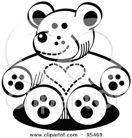 Royalty-Free (RF) Clipart Illustration of a Black And White Valentine Teddy Bear With A Heart Chest by Andy Nortnik
