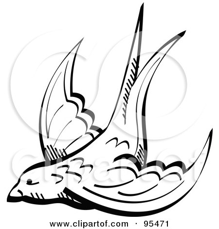 Royalty-Free (RF) Clipart Illustration of a Black And White Valentine Swallow Swooping by Andy Nortnik
