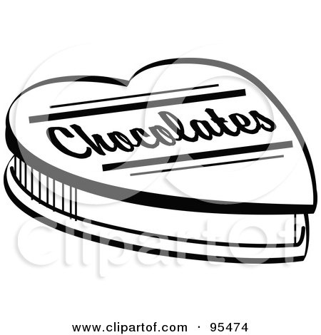 Royalty-Free (RF) Clipart Illustration of a Black And White Valentine Heart