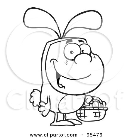 Royalty-Free (RF) Clipart Illustration of an Outlined Man In An Easter Bunny Costume, Carrying A Basket by Hit Toon