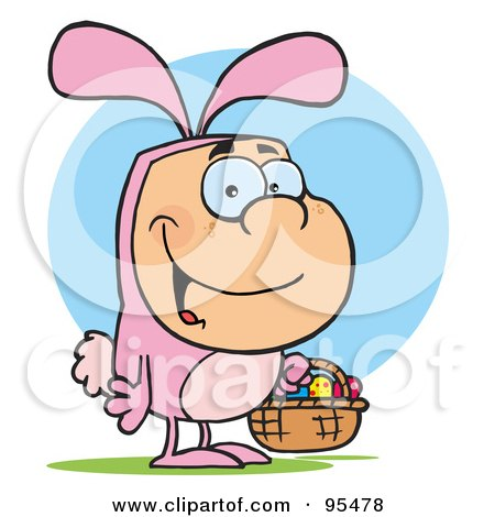 Royalty-Free (RF) Clipart Illustration of a Man In A Pink Easter Bunny Costume, Carrying A Basket by Hit Toon