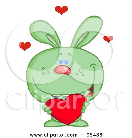 Royalty-Free (RF) Clipart Illustration of a Loving Green Bunny Holding A Red Heart by Hit Toon