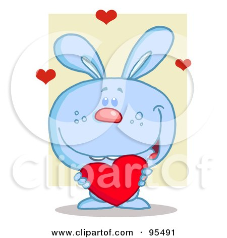 Royalty-Free (RF) Clipart Illustration of a Sweet Blue Bunny Holding A Red Heart by Hit Toon
