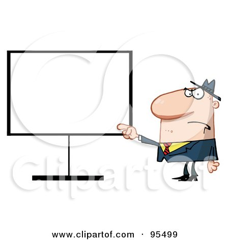 Royalty-Free (RF) Clipart Illustration of a Grumpy Boss Pointing To A Blank Board by Hit Toon