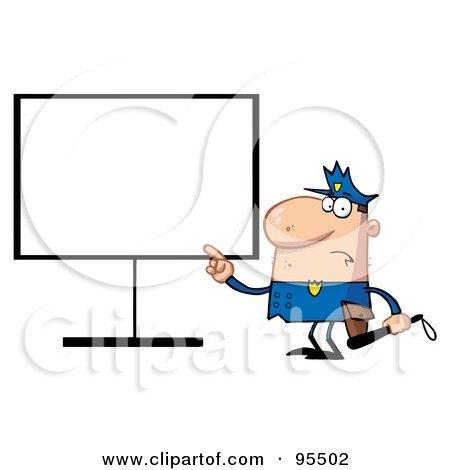 Royalty-Free (RF) Clipart Illustration of a Police Man Pointing To A Blank Sign by Hit Toon