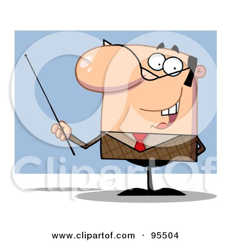Royalty-Free (RF) Clipart Illustration of a Smiling Businessman Holding A Pointer Stick by Hit Toon