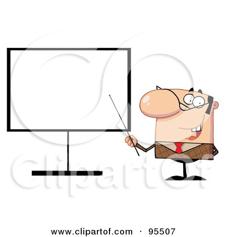 Royalty-Free (RF) Clipart Illustration of a Businessman Pointing A Stick At A Blank Board by Hit Toon