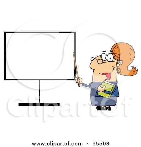 Royalty-Free (RF) Clipart Illustration of a Happy Female Teacher Pointing To A Blank Board by Hit Toon