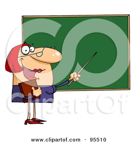 Royalty-Free (RF) Clipart Illustration of a Welcoming Female Teacher Pointing To A Chalkboard by Hit Toon