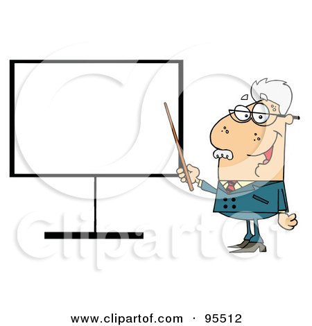 Royalty-Free (RF) Clipart Illustration of a Senior Professor Pointing To A Blank Sign by Hit Toon